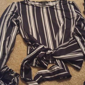Black and White Striped Top With Drawstrings